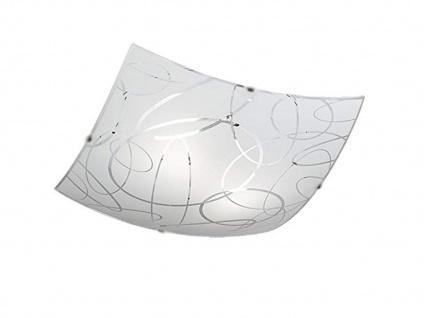 Dimmbare Deckenleuchte 30x30cm Lampenschirm aus Glas satiniert in weiß mit Dekor
