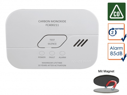 Kohlenmonoxid-Melder mit 10-Jahres Sensor Gasmelder CO-Melder & Magnetmontage