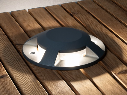 Bodenaufbaustrahler 4 LED Bodenspot Aussenbereich Aufbaustrahler anthrazit IP65