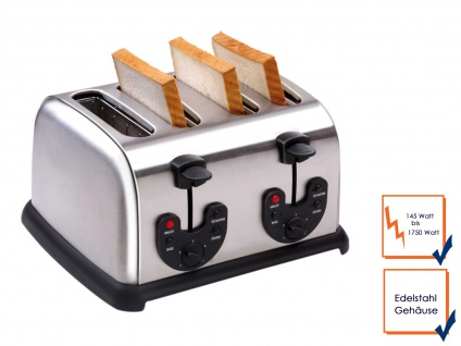 4 Scheiben Edelstahl Profi Toaster Toastautomat 4 Schlitz 145-1750 Watt