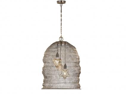 3flammige Design Pendelleuchte mit Lampenschirm altmessing 52cm, Esstischlampe
