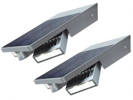 LED Außenwandleuchte 2er Set schwenkbar Solar mit Bewegungssenor IP44 - Garten