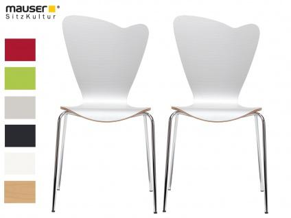 2er Design Stuhl HEART weiß Stapelstuhl Esszimmerstuhl Bistrostuhl Schalenstuhl