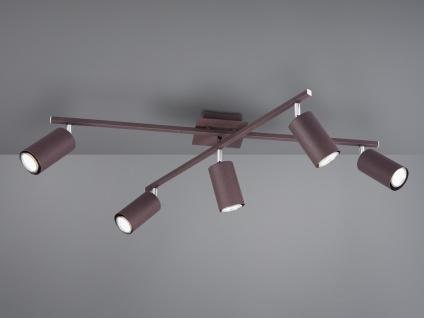 Deckenstrahler mit 5 dimmbaren LEDs für Wohnzimmer, Schlafzimmer & Küche in Rost
