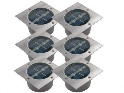 6er Set Solar Einbaustrahler Außen mit Tag / Nacht Sensor Bodeneinbauleuchten