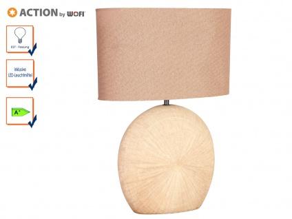 Tischleuchte LEGEND mit LED, H. 53cm, braun, Keramik & Stoff, Tischlampen Lampen