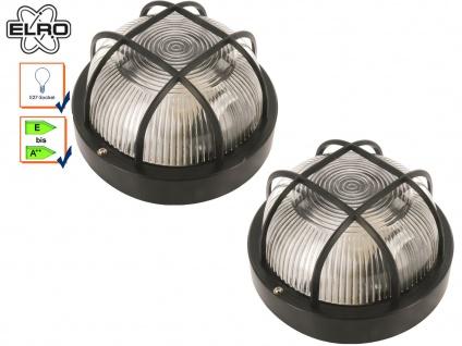 2 Stk Elro Kellerleuchte Außenleuchte schwarz, E27 Lampe Keller Garage Hauswand