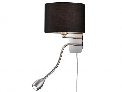 Wandleuchte mit Stoffschirm schwarz und LED Leselampe fürs Bett - Stecker Kabel - Vorschau 2