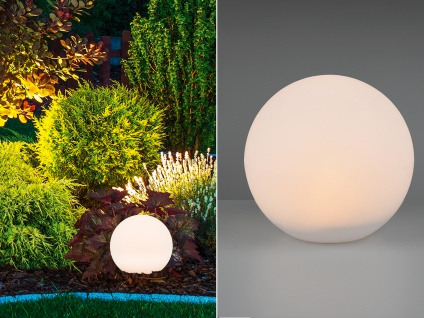 Kugelleuchte für den Garten Solar Ø 30 cm Dekokugeln Beetleuchten Weglampen weiß