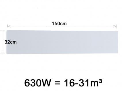 Vitalheizung Infrarotheizung Heizpaneel 630W, 150x32 cm, Hochglanz weiß, IP44