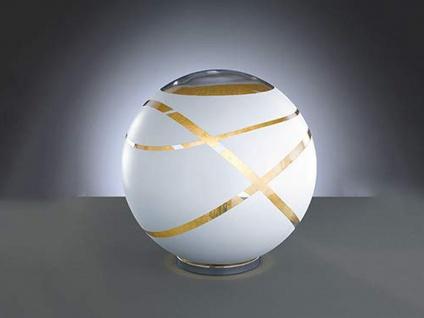 Coole Tischleuchte Ø30cm aus GLAS in Weiß & innen Gold, extravagantes Glasdesign