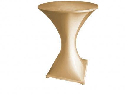Robuster STEHTISCH klappbar Ø80cm weiß mit Stretch-Husse Beige, Klapp Tisch - Vorschau 2