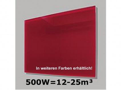 500W Infrarot-Glaspaneel rot, 90x60cm, für Räume 12-25m³, IP44