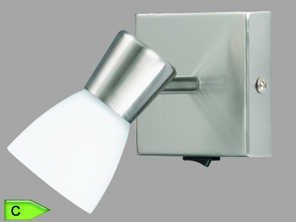 Halogen-Spot, inkl. 1 x 28W/G9, mit Schalter, Glas opal matt, Nickel