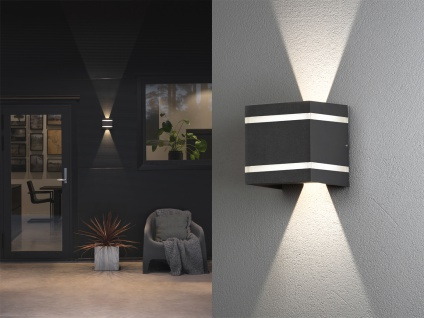 2er SET LED Außenwandlampen Würfel aus ALU in dunkelgrau, up and down Höhe 11cm