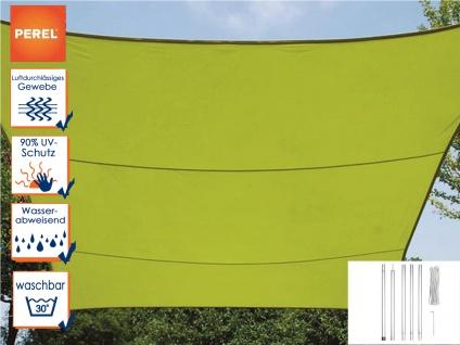 Sonnensegel Rechteckig 3x4m Grün mit Stangenset für den Garten Sonnenschutzsegel