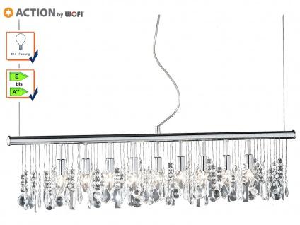 9-fl. Pendelleuchte Chrom & Kristallbehang klar L. 120cm Esstischlampe Pendel