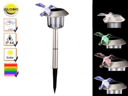Globo LED Solarleuchte mit Erdspieß und Farbwechsel, Erdspießleuchte Kolibri