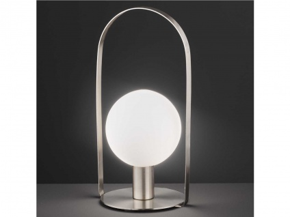Bauhaus LED Tischlampe Kugelleuchte innen mit Lampenschirm Glas, Nachttischlampe