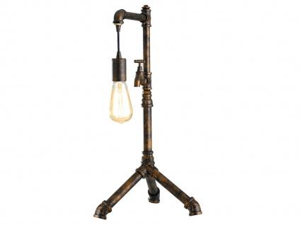 Außergewöhnliche LED Industrielook Tischleuchte mit Wasserrohr Rostoptik antik