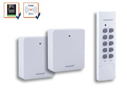 SmartHome 2 x Funk-Steckdosen, extra flach bis 460 Watt + Fernbedienung