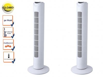 2x Ventilator oszillierend mit Fernbedienung, Standventilator Turmventilator