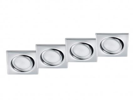 LED Einbaustrahler Decke 4er Set eckig dimmbar Chrom glänzend 5, 5W Deckenleuchte