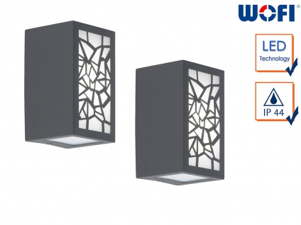 2x LED Außenwandleuchte Aluminium eckig 7W Wandleuchte außen Fassadenbeleuchtung