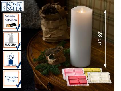 LED Duftkerze Echtwachs 6h Timer mit 4 Duftrichtungen H. 23 cm Stimmungslicht