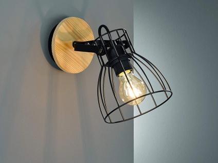 Schwenkbarer Vintage Wandspot mit dimmbarer LED - Gitterlampe schwarz mit Holz