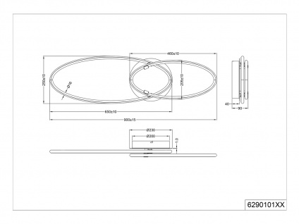 Coole LED Deckenlampe für Wohnzimmer, große flache Ringleuchte Jugendzimmer Flur - Vorschau 5