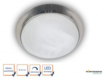 LED Wohnraumleuchte dimmbar Alabaster Zierring Nickel matt Ø40cm Kellerleuchte
