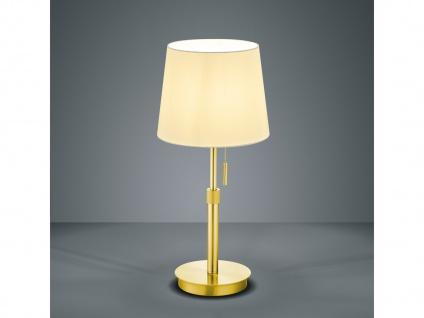 Große Nachtischleuchte Stofflampe mit Lampenschirm rund und Schnur zum Anmachen