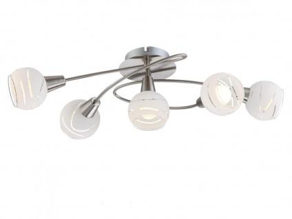 5flammige Deckenleuchte E14 LED, Glasschirme satiniert, Deckenlampe klassisch
