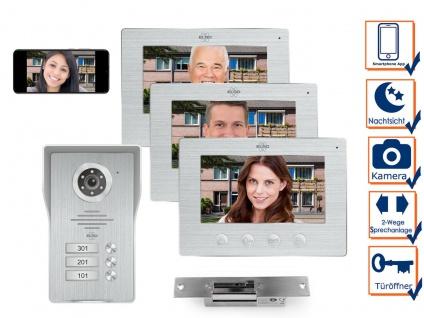 IP Türsprechanlage mit Kamera und Türöffner, Video Türklingel für 3 Familienhaus