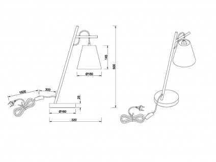 Coole Tischleuchte 50cm mit Stoff Lampenschirm höhenverstellbar in schwarz/gold - Vorschau 5
