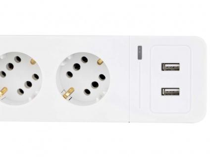 Steckdosenerweiterung 6 fach Leiste, Mehrfachsteckdose mit 2 USB Anschlüssen - Vorschau 3