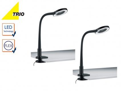 2er Set LED Klemmleuchten Klammerleuchten schwarz mit Lupe, Schreibtischlampen