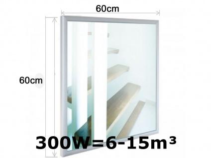 300W Infrarotheizung, Glaspaneel in Spiegeloptik, Räume 6-15m³