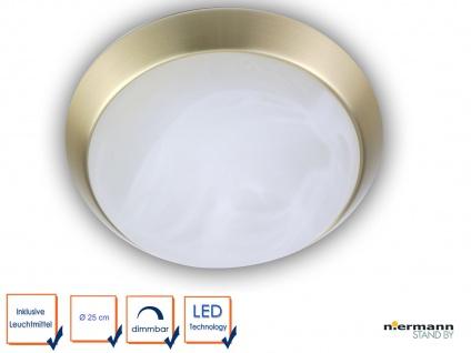 LED Deckenleuchte, Glas Alabaster, Messing matt, Ø 25cm, LED Schlafzimmerleuchte
