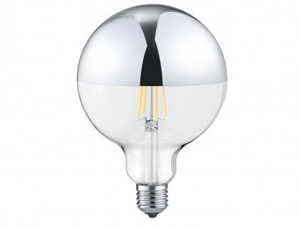 Großes, dimmbares 7 Watt Filament LED Leuchtmittel Ø12, 5cm Chrom für E27 Fassung