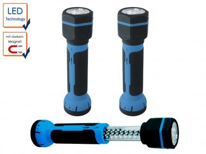 2er SET LED Taschenlampen / Arbeitsleuchten + Magnet, mit Akku, Stableuchten