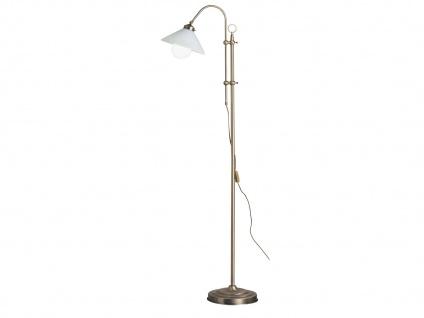 Höhenverstellbare Stehlampe Altmessing, Lampenschirm Glas, Stehleuchte antik