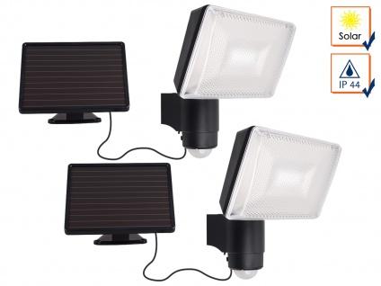 2er SET Solar LED Strahler mit Bewegungsmelder, SAMSUNG LEDs, 120°, IP44 Fluter