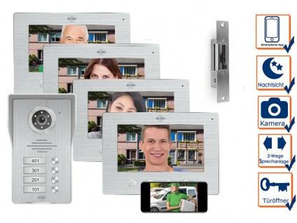IP Türsprechanlage mit Kamera und Türöffner, Video Türklingel für 4 Familienhaus