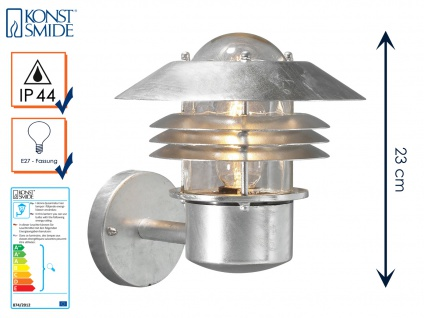 Wandleuchte Wandlampe MODENA galvanisierter Stahl, E27, Höhe 23cm IP44