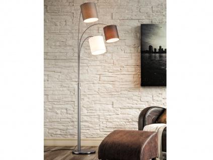 Stehleuchte dimmbar mit 3 Lampenschirmen aus Stoff - mehrflammige E27 Bogenlampe