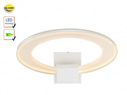LED Wandleuchte, Designwandleuchte Metall weiß, Acrylring satiniert, Globo