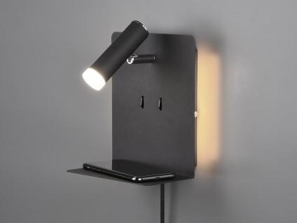 LED Wandleuchte Schwarz mit Leselampe USB Anschluss & Ablage Wandlampe fürs Bett