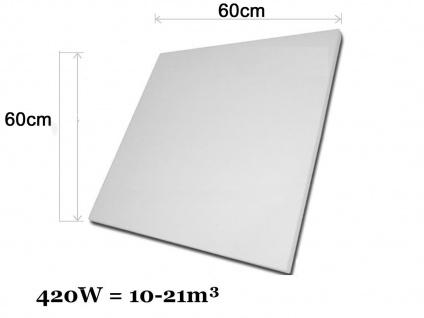 Infrarotheizung, Elektroheizung 420W, 60x60 cm, Hochglanz weiß, Vitalheizung